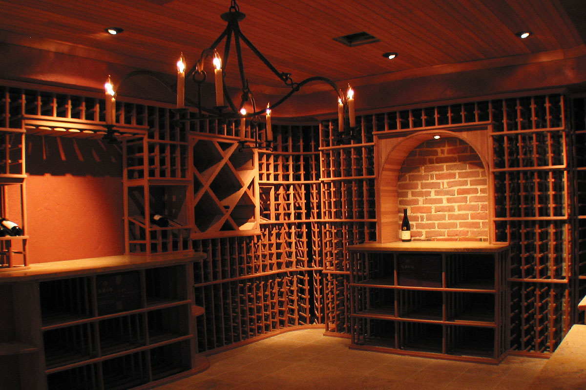 wine room lighting. Exposed Brick Wall Accents The Lighted Arch In This Very Stylish 2,500 Bottle Newton Wine Cellar. Redwood Beadboard, Pan Ceiling, And Chandelier Details Room Lighting R